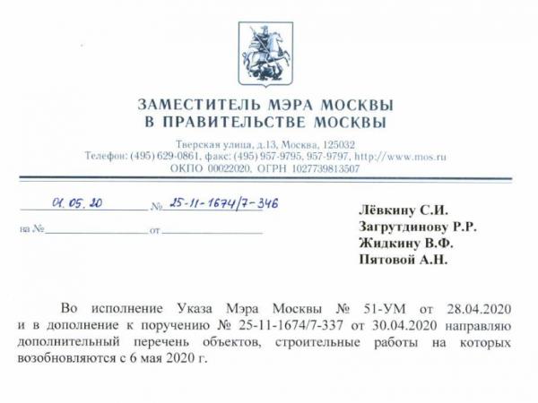 В соответствии с Указом Мэра г. Москвы в ЖК «Борисоглебское» возобновлены строительно-монтажные работы с 06.05.2020 г.